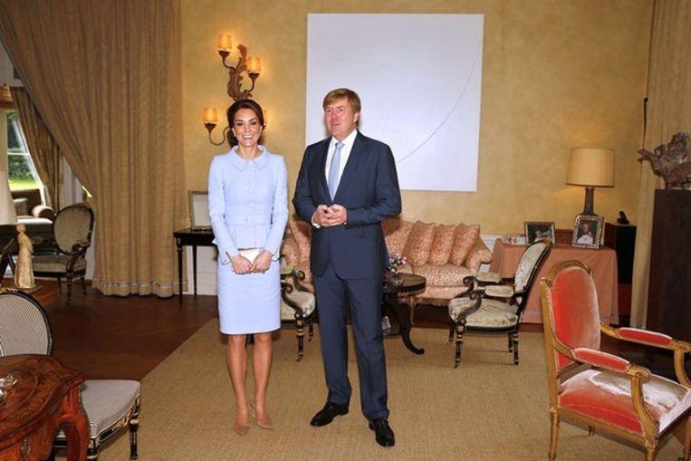 Willem Alexander met de vrouw van prins William in Villa Eikenhorst te Wassenaar Beeld afp