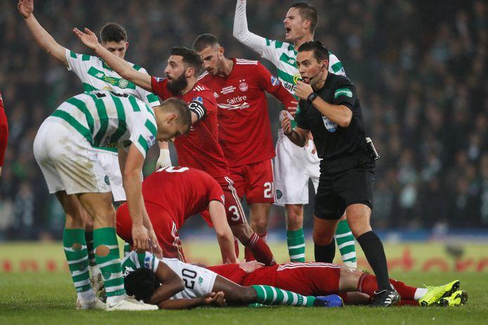 Een duel tussen Celtic en Aberdeen in december 2018.