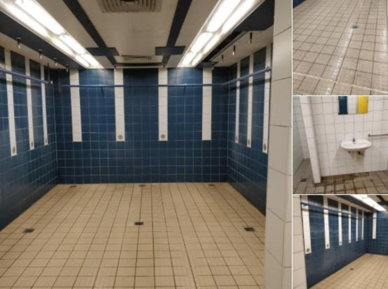 Foto's van in de kleedkamer van de sporthal van de Hogeschool Gent.