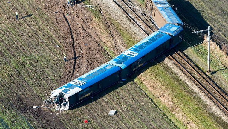 De ontspoorde trein. Beeld ANP