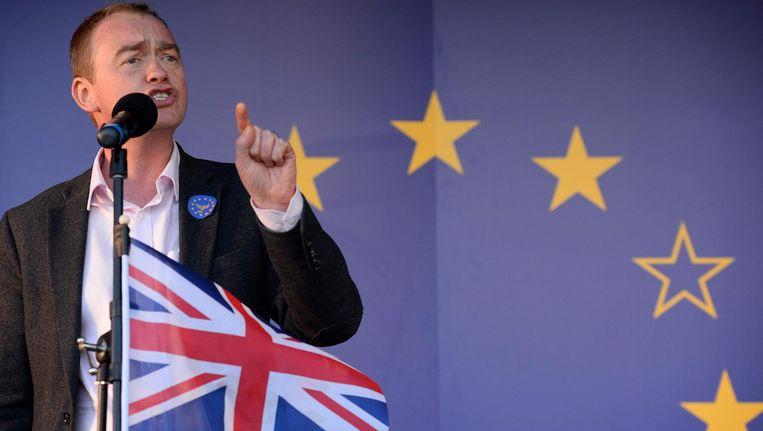 Tim Farron tijdens een pro-Europese Unie demonstratie in maart. Beeld null