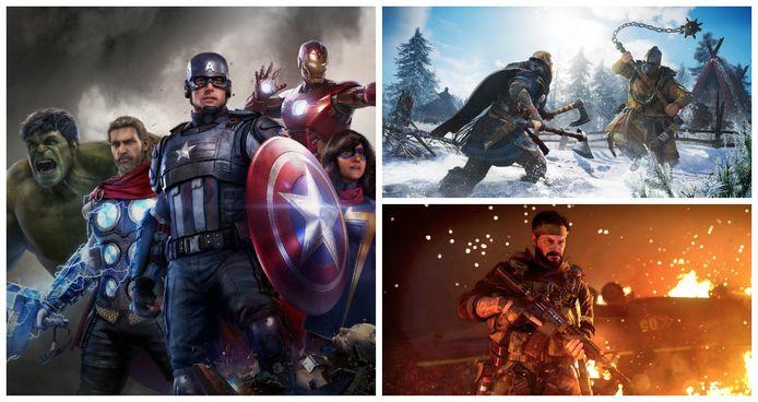 Met de klok mee: Marvel's Avengers, Assassin's Creed: Valhalla en Call of Duty Black Ops: Cold War