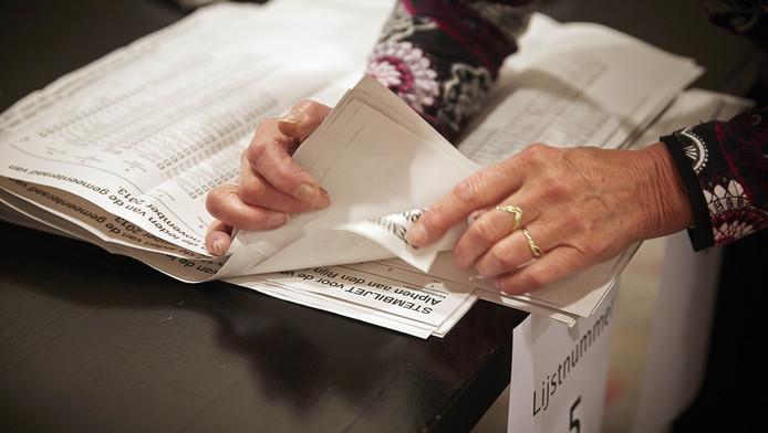 Het handmatig tellen van de stemmen.
