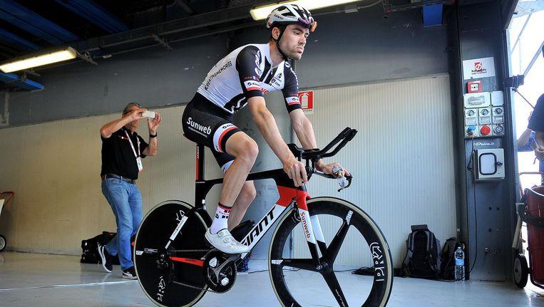 Tom Dumoulin neemt het bij de verkiezing van Sportman van het Jaar op tegen autocoureur Max Verstappen en schaatser Sven Kramer. Beeld anp