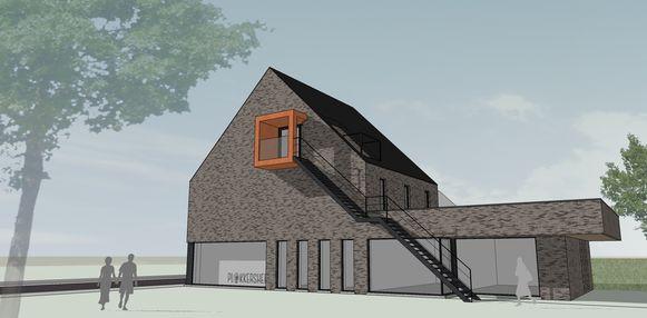 Een toekomstbeeld van de geplande uitbreiding. Achter deze nieuwbouw liggen de huidige gebouwen van Het Plokkersheem.
