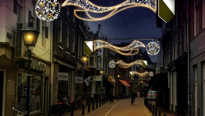 De Twijnstraat moet er zo uit gaan zien met de nieuwe feestverlcihting,