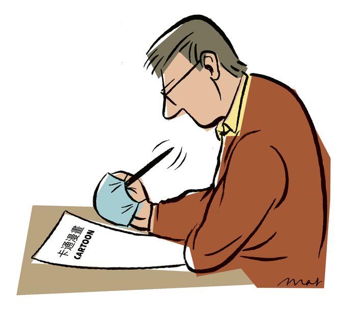 Mat Rijnders, cartoonist van het ED, reageert met grote verbazing over de bemoeizucht die de Chinese ambassadeur Xu Hong deze week in de Volkskrant liet optekenen.