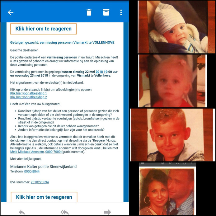 De politie zoekt mensen die de moeder en haar drie kinderen onlangs nog hebben gezien.