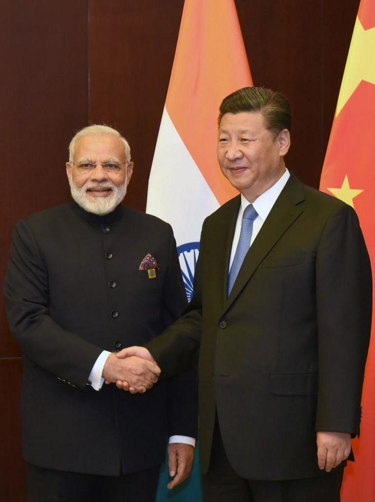 Narendra Modi en Xi Jinping Beeld afp