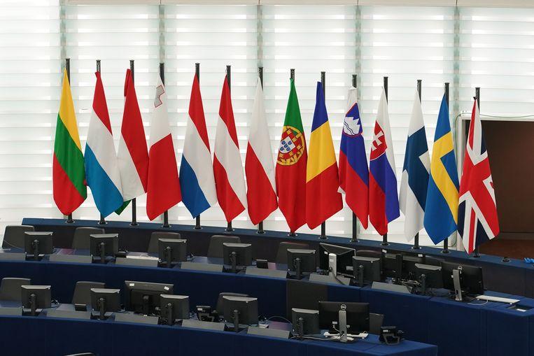 De Britse 'Union Jack' is nu nog te vinden in het Europees Parlement te Straatsburg. Na brexit zal de vlag uit het parlement verwijderd worden.