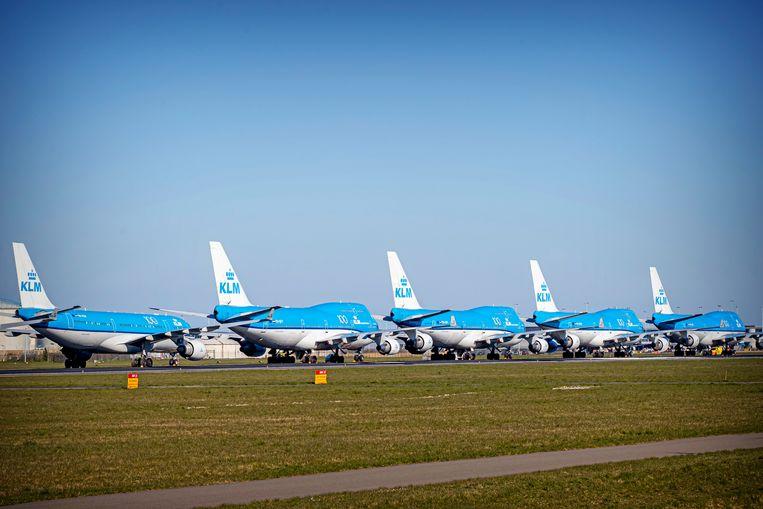 Geparkeerde vliegtuigen op Schiphol.  Beeld Getty Images