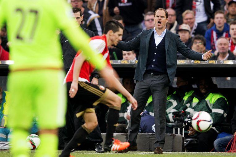Ajax- trainer Frank de Boer in de Rotterdamse Kuip tijdens de wedstrijd tegen Feyenoord. Beeld anp