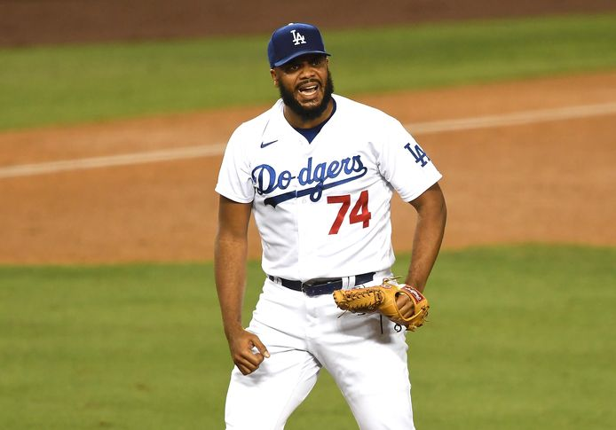 Kenley Jansen hoefde vannacht niet in actie te komen bij de Dodgers.