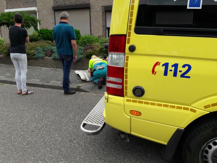Ambulance bij de gevallen mountainbiker