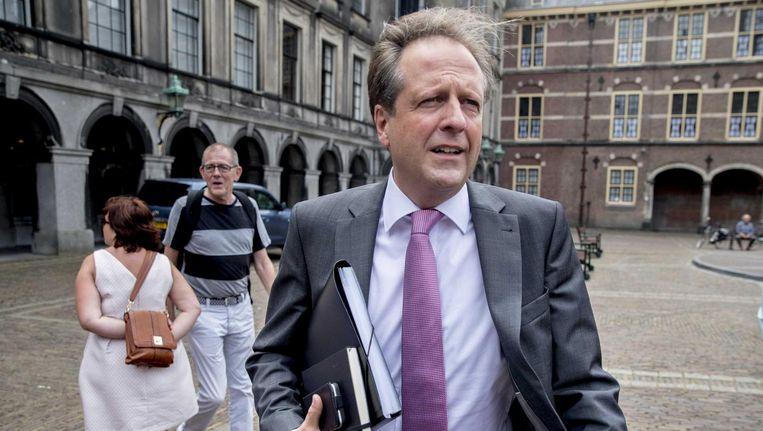 Alexander Pechtold, onderhandelaar namens D66, op het Binnenhof. Beeld anp