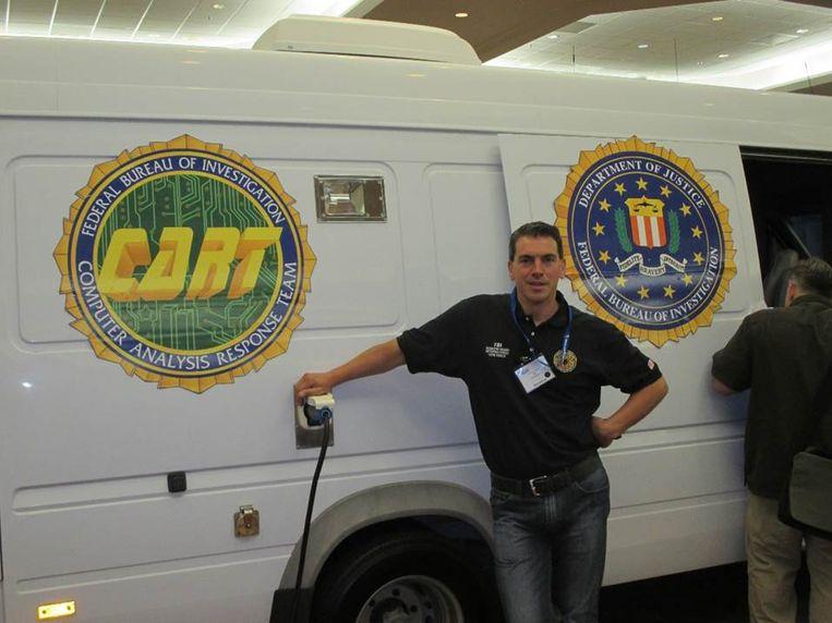 Campus Vesta-docent Tim Van Eester tijdens een opleiding bij de FBI.