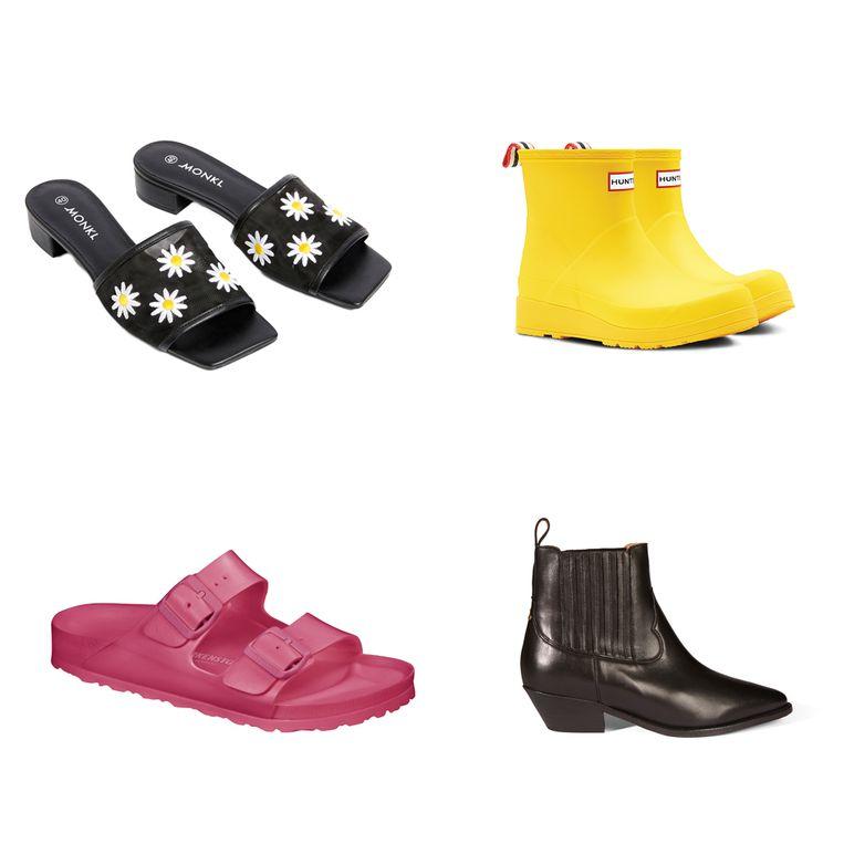 Vanaf linksboven en met de klok mee: Muiltjes van Monki € 30, Rubber laarzen van Hunter € 85, Laarsjes van Jerome Dryfuss € 545, Roze sandalen van Birkenstock € 45 Beeld
