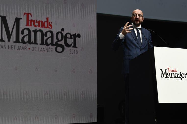 Michel tijdens zijn toespraak op het Manager van het Jaar-evenement.