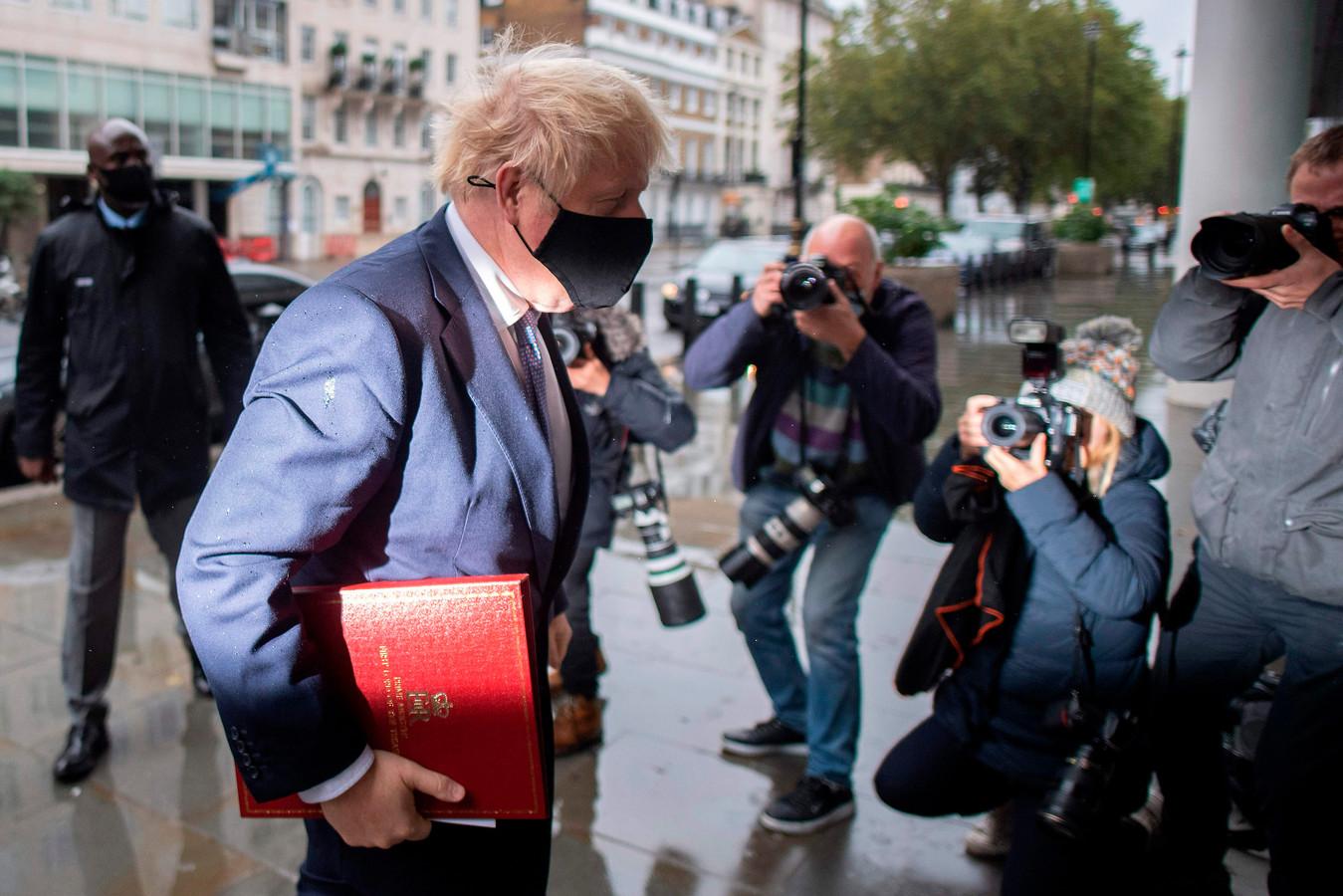 De Britse premier Boris Johnson vandaag in Londen.