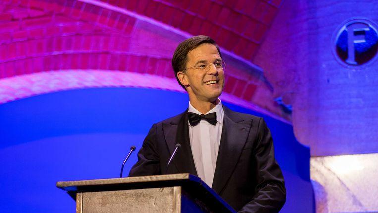 Mark Rutte tijdens zijn 'conference' Beeld anp