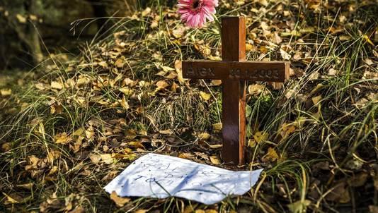 Herdenkingskruis voor Alex Wiegmink op de Posbank.