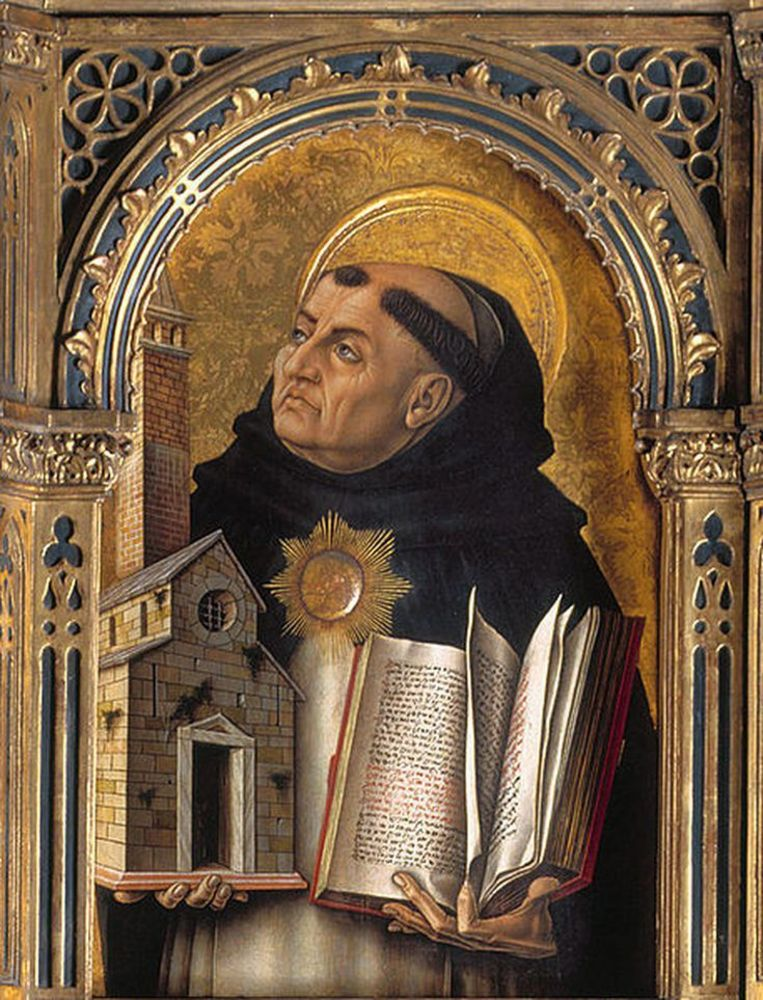 Thomas van Aquino; altaarstuk van Carlo Crivelli (detail) Beeld