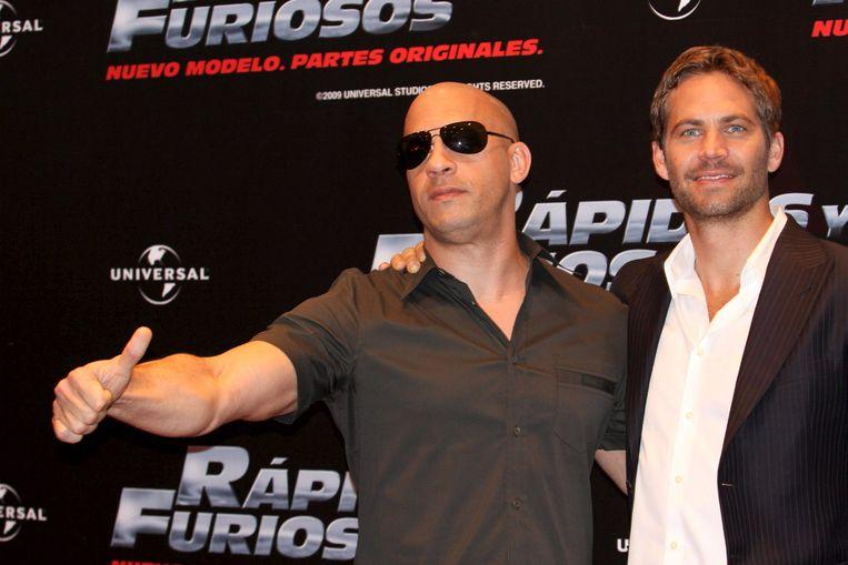 "Vin Diesel en Paul Walker tijdens de première van ""Fast and Furious, New Model, Original Parts"" in Mexico in 2009."