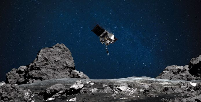 Ruimtesonde OSIRIS-REx nadert asteroïde Bennu op een artiestenimpressie.