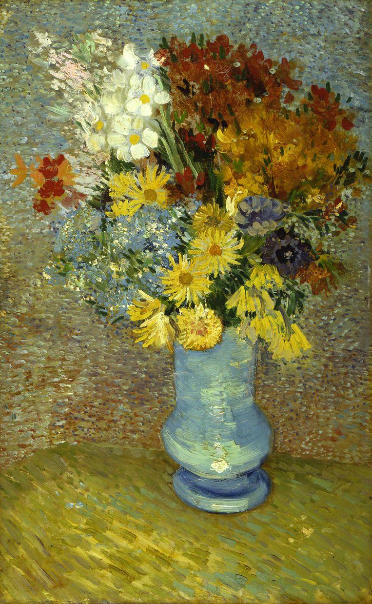 Vincent van Gogh, Bloemen in blauwe vaas (Flowers in a Blue Vase), circa juni 1887. Beeld Stichting Kröller-Müller Museum