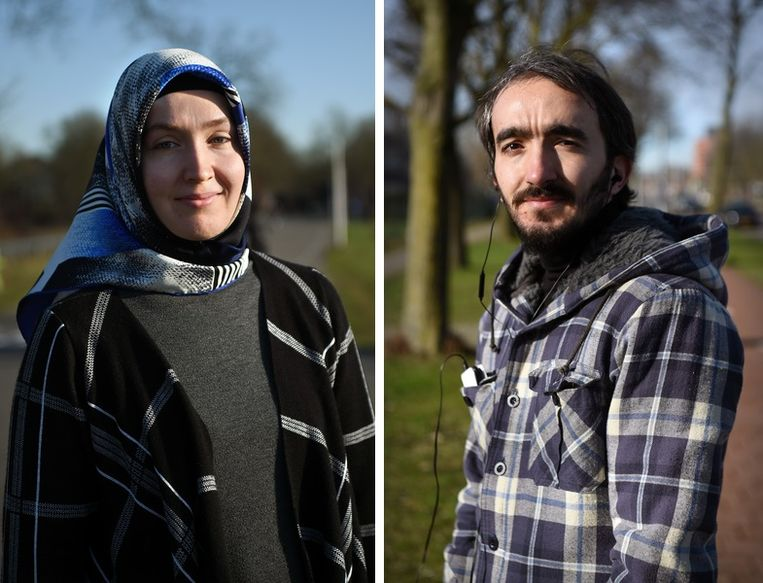 Merve Okur en Adem Korkut. Beeld Marcel van den Bergh / De Volkskrant