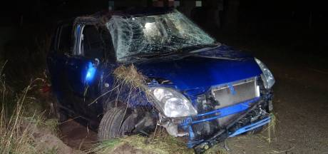 Automobilist ontwijkt ree en crasht in greppel IJhorst