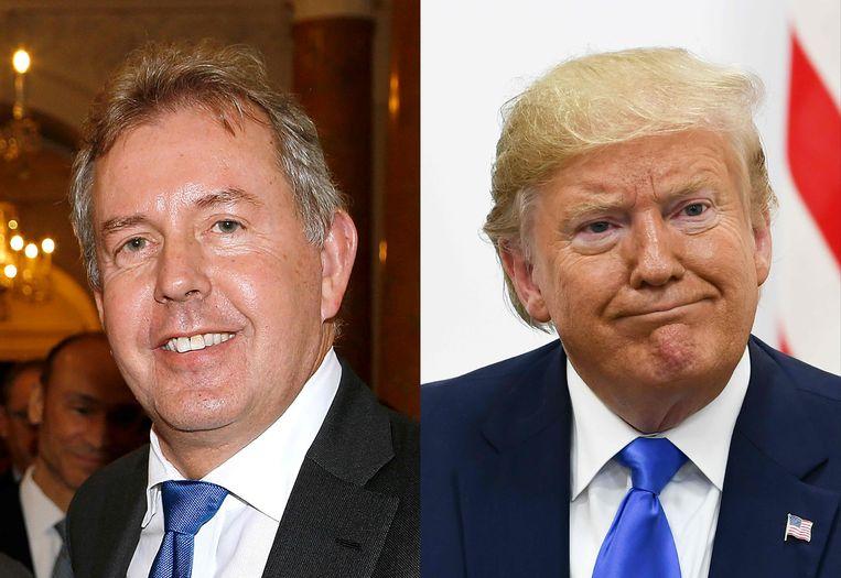 De Britse ambassadeur Kim Darroch en president Donald Trump.
