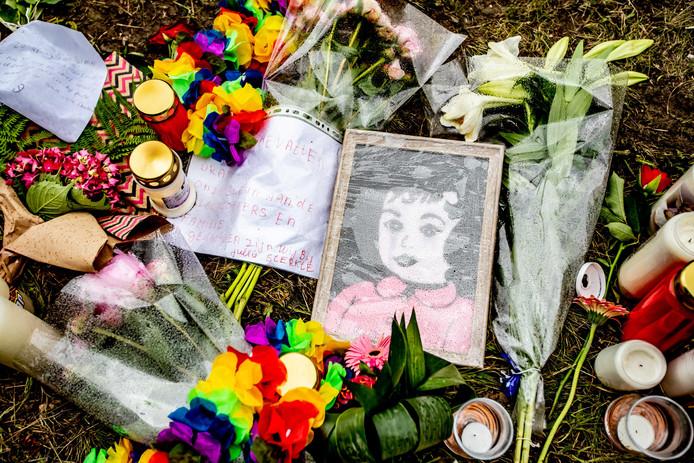 Bloemen en kaarsen in de berm van de Mensheggerweg, waar de aanrijding plaatsvond.