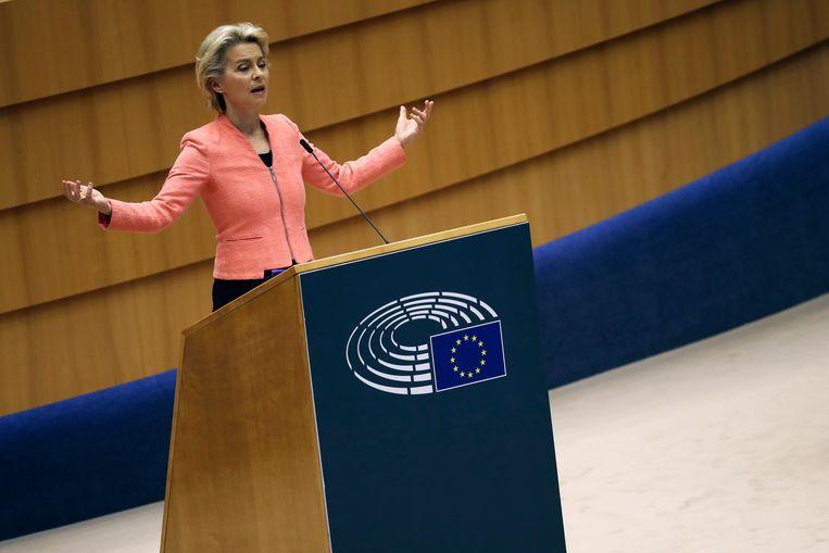 Voorzitter van de Europese Commissie Ursula von der Leyen tijdens haar eerste Staat van de Unie. Beeld AP