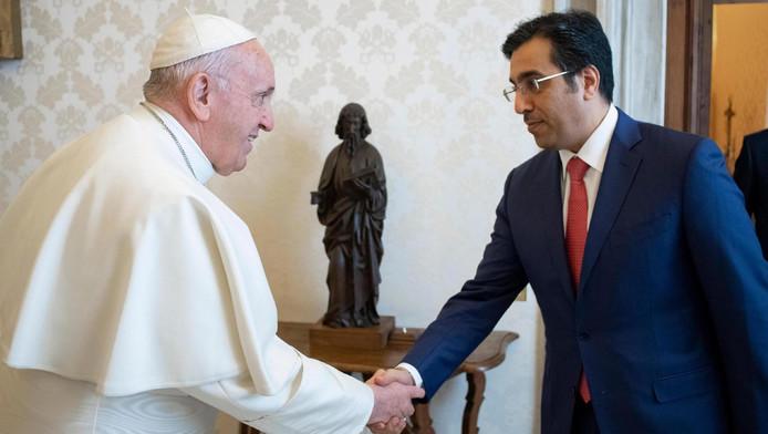 Le pape François lors d'une audience avec le président du comité qatarien des droits de l'homme, Ali Bin Samikh al Marr