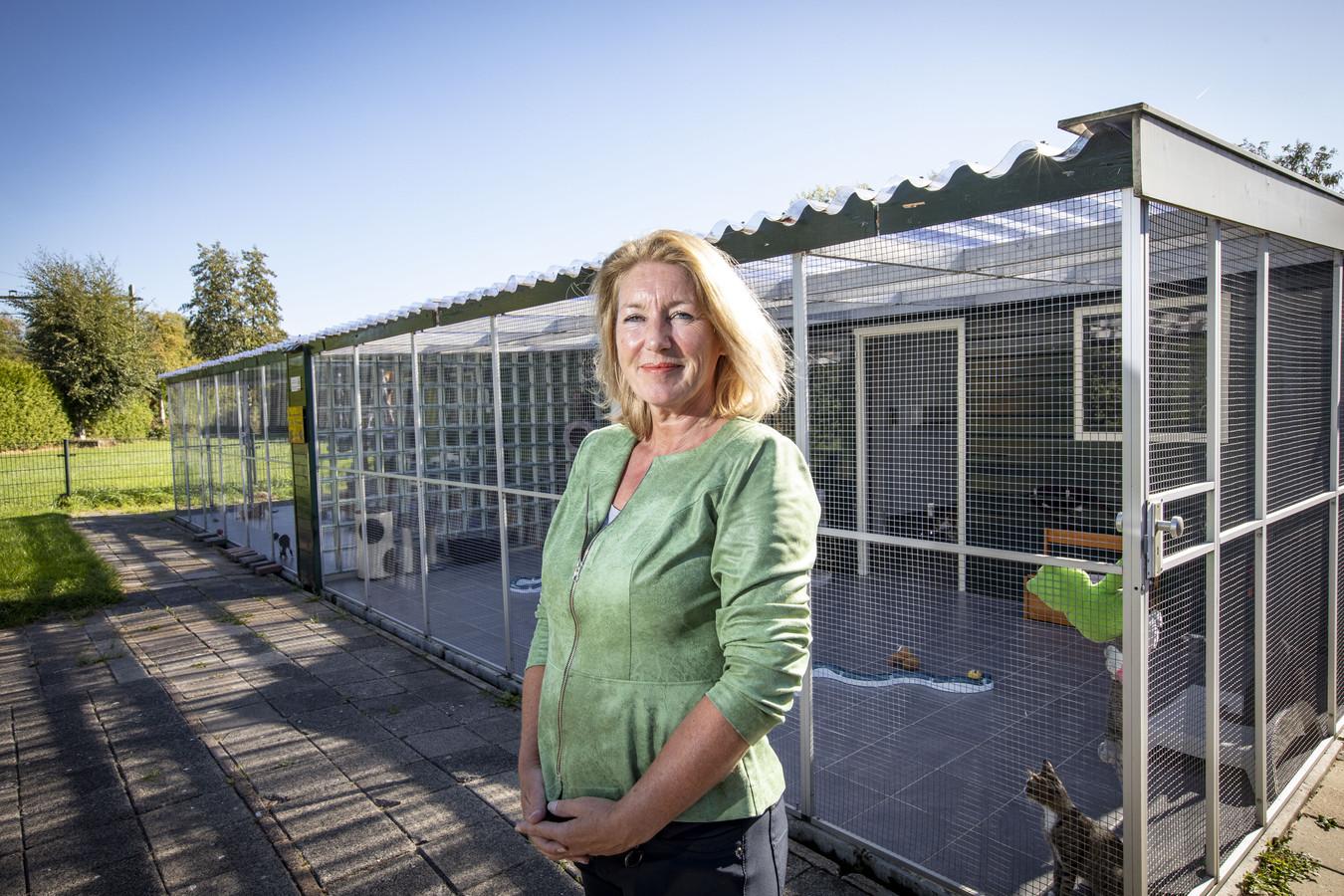 OLDENZAAL - Liesbeth van Hoorik bij het verouderde kattenasiel. De ruimte biedt te weinig opvangplekken voor zwerfkatten.