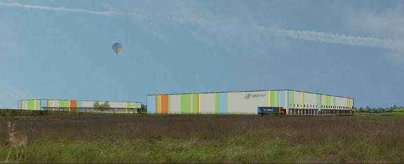 Een toekomstbeeld van hoe de leeggoedcentrale van VT Logistics er zal gaan uitzien.
