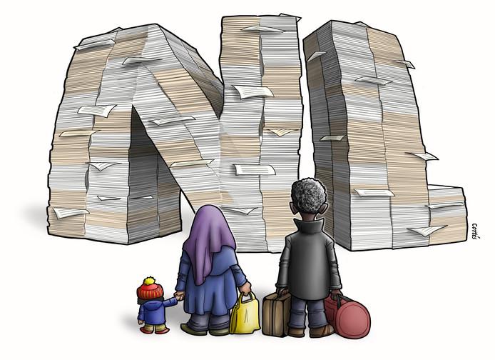 Cortés illustratie serie Statushouders en Werk. Papierwerk, bureaucratie.