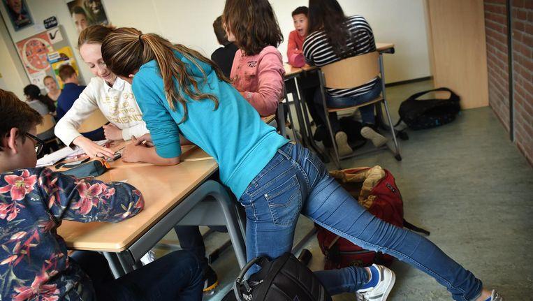 Middelbare schoolklas in Nijmegen, 2016. Beeld Marcel van den Bergh / de Volkskrant
