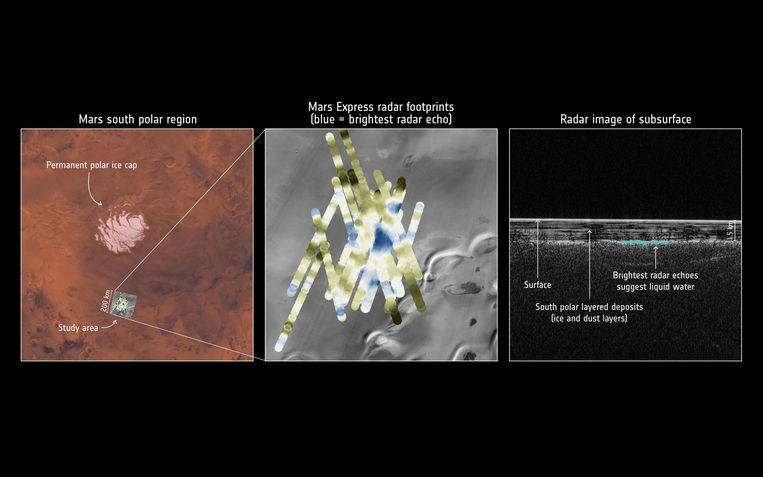 Op deze foto kan je de radargegevens zien van de Mars Express. Het meer werd gevonden onder een dikke laag ijs aan de permanente ijskap op de Zuidpool van Mars.
