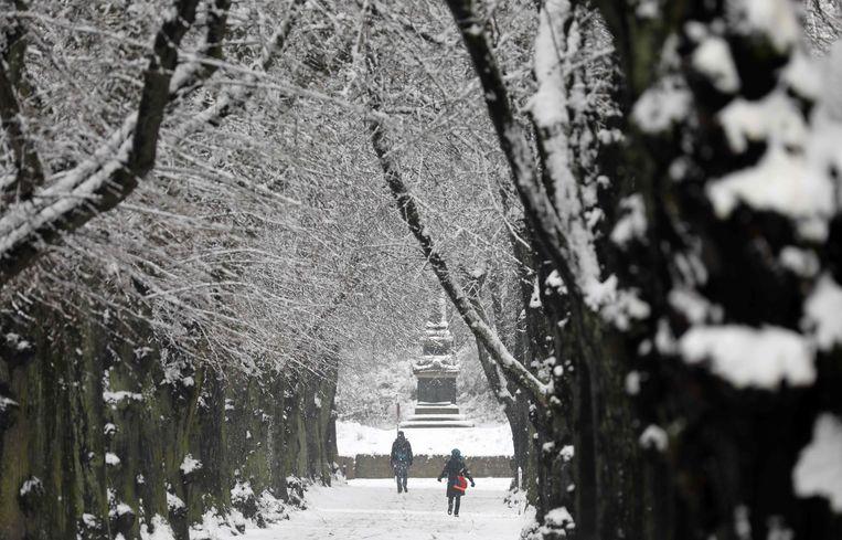 Sneeuw met Pasen in Rostock.