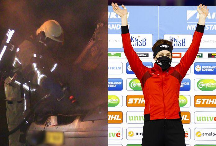 Links: brandweer blust een autobrand in Enschede vrijdagochtend, alweer de 42e van het jaar. Rechts: Jorien ter Mors pakte vandaag de nationale titel op de 1500 meter schaatsen. Haar vierde.
