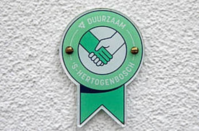 Gevelplaatje groene handdruk Den Bosch.
