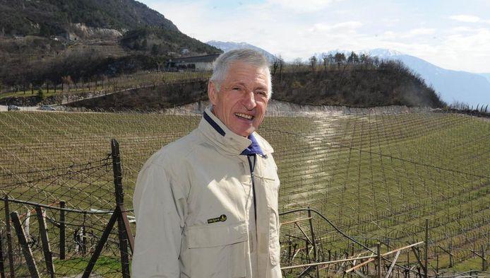 Francesco Moser bij zijn wijngaard in Trento.