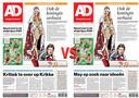 Links voorpagina Haagse editie, rechts voorpagina Westlandse editie.