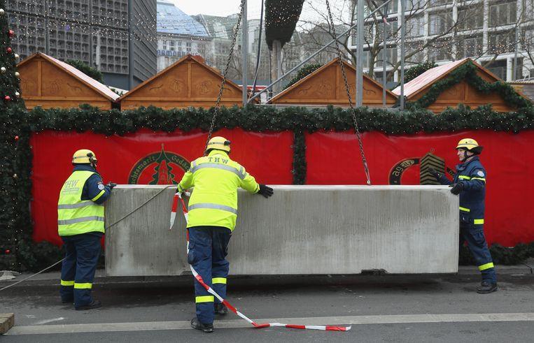 Betonblokken in Berlijn.