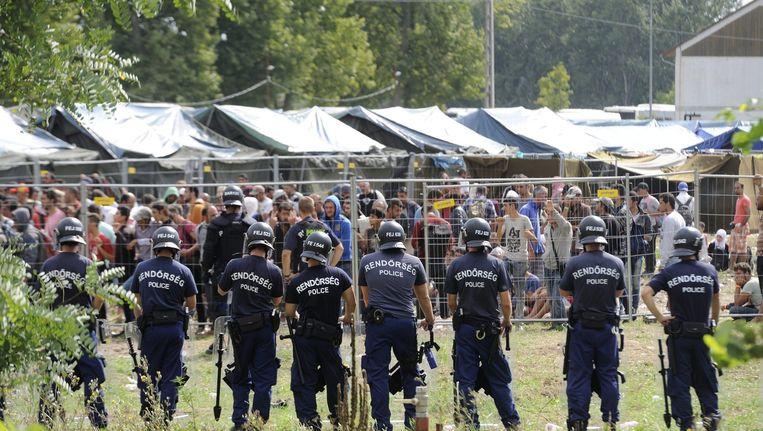 De Hongaarse politie bij een opvangcentrum voor vluchtelingen bij Roszke, op de grens tussen Servië en Hongarije. Beeld null