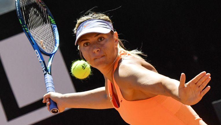 Maria Sjarapova tijdens het ATP-toernooi van Rome in 2017 Beeld afp