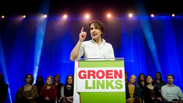 Jesse Klaver tijdens de Meetup XL in de Werkspoorkathedraal in Utrecht. Beeld Freek van den Bergh