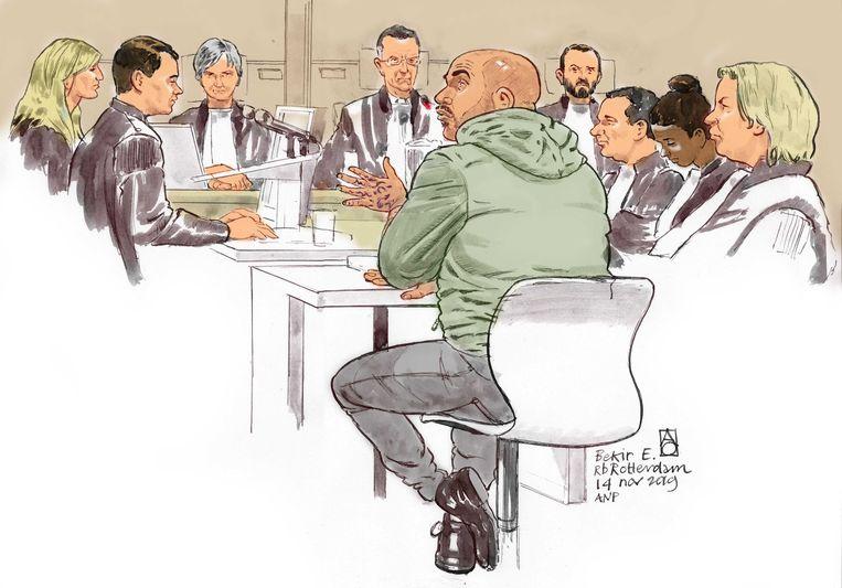 Rechtbanktekening van Bekir E.  Beeld Aloys Oosterwijk / ANP
